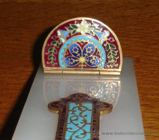 Antigüedades: antigua cruz benditera de esmalte y bronce s.XIX - Foto 8 - 17404619