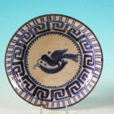 Antigüedades: PLATO DE CERÁMICA DE MANISES , FIRMADO : F.M. S. XIX, PINTADO A MANO. Lote 9319887