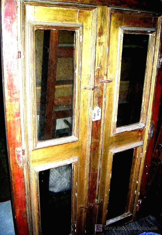2 puertas vitrina dorado con comprar - Restaurar armarios antiguos ...
