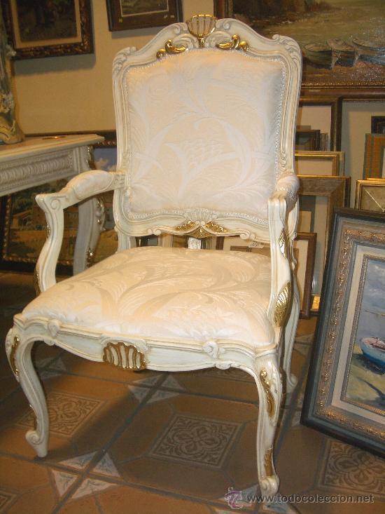 Impresionantes sillones lacados dorados y pat comprar - Muebles antiguos lacados en blanco ...