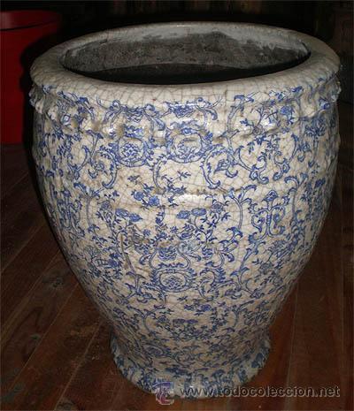 macetero de ceramica con dibujo y bao de porcelana craquelada tipo antiguo medida