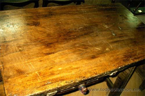 Antigüedades: Mesa de nogal y roble. 2 cajones . Medida 78,5 cm altura x 109 cm larga x 62 cm fondo.S.XIX - Foto 2 - 27260421