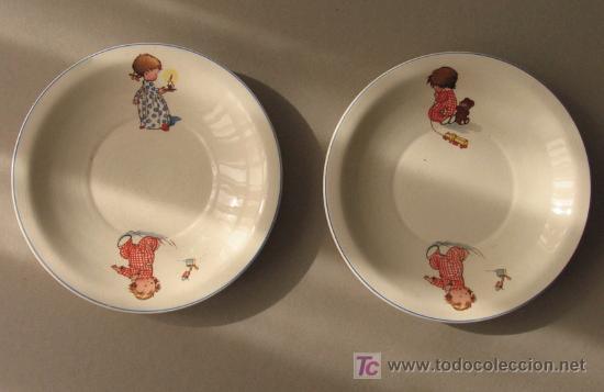 DOS PLATOS ANTIGUOS DE SAN CLAUDIO DE TEMATICA INFANTIL. (Antigüedades - Porcelanas y Cerámicas - San Claudio)