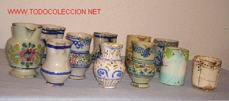 LOTE JARRITAS POPULARES (Antigüedades - Porcelanas y Cerámicas - Manises)