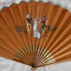 Antigüedades: ABANICO DE SEDA PINTADO A MANO, MADERA LABRADA. Lote 23620452