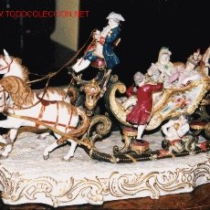 Antigüedades: IMPRESIONANTE TRINEO PORCELANA POLICROMADA MEISSEN. Lote 25335868