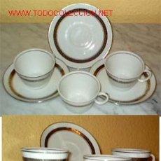 Antigüedades: = SERVICIO DE 3 TAZAS DE CAFE CON SUS PLATOS. SANTA CLARA PLATO. Lote 5567049