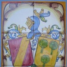 Antigüedades: CUADRO HERALDICO DE CERAMICA CON EL ESCUDO DE SUS APELLIDOS. Lote 24484578