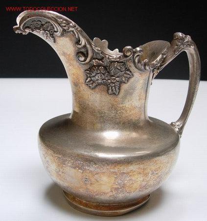 ANTIGUA JARRA DE METAL PLATEADO (Antigüedades - Platería - Bañado en Plata Antiguo)