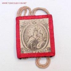 Antigüedades: ESCAPULARIO - VIRGO CARMELI - S. XIX. Lote 27505708