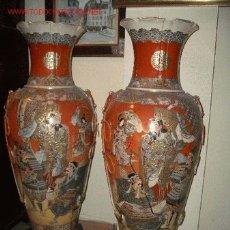 Antigüedades: IMPRESIONANTE PAREJA JARRONES JAPON, CERAMICA ROJOS Y ORO, JARRON SATSUMA DEL S XIX. Lote 27539845