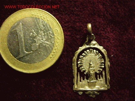 MEDALLA RELIGIOSA ANTIGUA DE PLATA, VIRGEN DEL PILAR (Antigüedades - Religiosas - Medallas Antiguas)