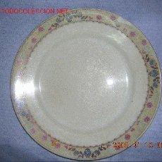 Antigüedades: ANTIGUO PLATO DE LA CARTUJA PICKMAN CON RIBETE ESTAMPADO 25 CM. DE DIAMETRO. Lote 27546142