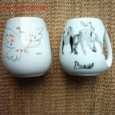 Antigüedades: 2 JARRAS DE PORCELANA DECORADAS CON OBRA DE PICASSO. 10 CM. . Lote 13319337