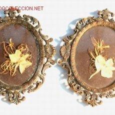 Antigüedades: PAREJA DE MARCOS OVALES DE METÁL DORADO PP. S. XX. Lote 17988458