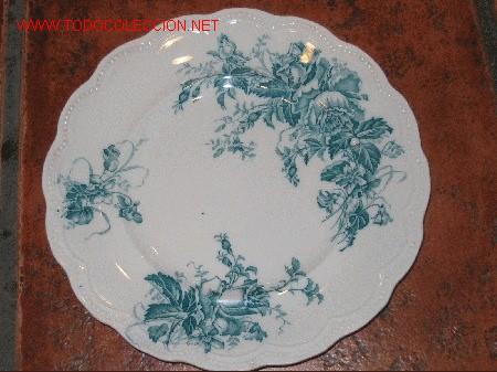 ANTIGUO PLATO LLANO DE LOZA INGLESA (Antigüedades - Porcelanas y Cerámicas - Inglesa, Bristol y Otros)