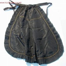 Antigüedades: DELANTAL O MANDIL DE SEDA NEGRA S. XIX - XX - . Lote 26694137