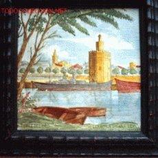 Antigüedades: ANTIGUO AZULEJO DE CERAMICA DE SANTA ANA (TRIANA, SEVILLA). PINTADO A MANO.15 X 15 CM.. Lote 26577318