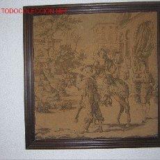 Antigüedades: ANTIGUO TAPIZ CON MARCO, 47 X 47 CM. MEDIDAS SIN MARCO. Lote 27275144