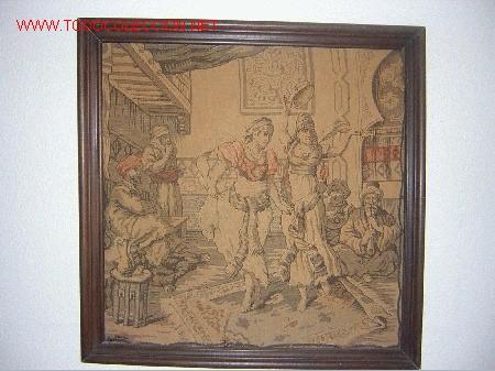 ANTIGUO TAPIZ CON MARCO, 47 X 47 CM. MEDIDAS SIN MARCO (Antigüedades - Hogar y Decoración - Tapices Antiguos)