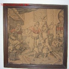 Antigüedades: ANTIGUO TAPIZ CON MARCO, 47 X 47 CM. MEDIDAS SIN MARCO. Lote 27275145