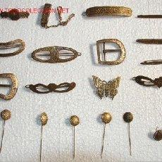 Antigüedades: LOTE DE HEBILLAS, PINES, PRENDEDORES Y AROS ANTIGUOS, DAMASQUINADOS EN ORO!!, 20 PIEZAS!. Lote 27092837
