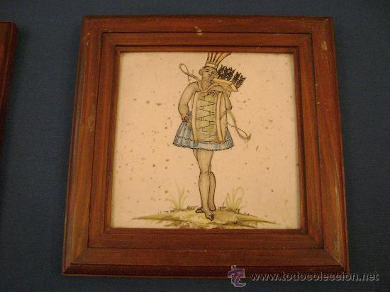 AZULEJO DE FIGURA VALENCIANO DEL SIGLO XIX . (Antigüedades - Porcelanas y Cerámicas - Azulejos)