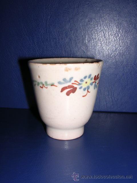 TAZA XICRA DE MANCERINA DE ALCORA S.XVIII, SERIE EL CACHARRERO 1780 APROX, ANTIGUA ( NO COPIA ) (Antigüedades - Porcelanas y Cerámicas - Alcora)