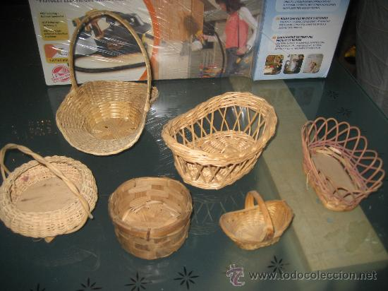 Lote de 6 cestas peque as de mimbre tienen de comprar - Cestas de mimbre pequenas ...