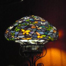 Antigüedades: LAMPARA SOBREMESA TYFFANI LIBELULAS AZUL . Lote 9849902