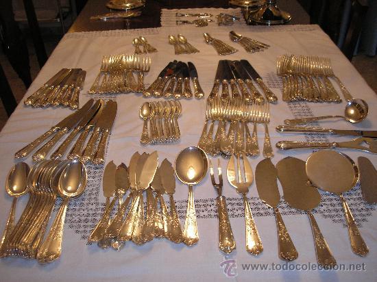 Cuberteria meneses plateada de 130 piezas ver comprar ba ado en plata antigua en - Precio cuberteria plata ...