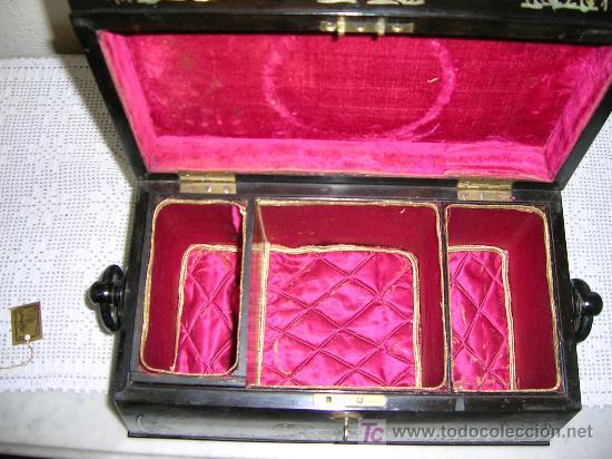 Antigüedades: Antigua caja Inglesa para el thé en chicaranda con marqueteria en nacar S-XIX - Foto 2 - 26961658