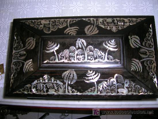 Antigüedades: Antigua caja Inglesa para el thé en chicaranda con marqueteria en nacar S-XIX - Foto 3 - 26961658