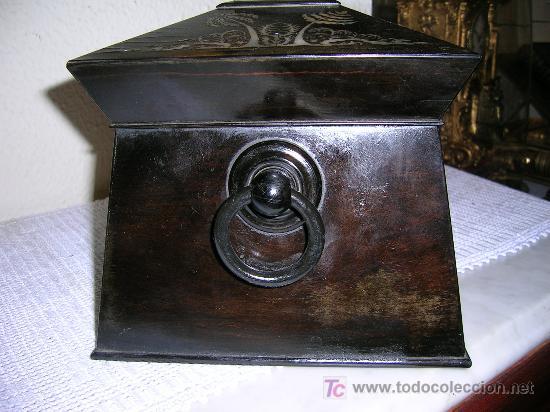 Antigüedades: Antigua caja Inglesa para el thé en chicaranda con marqueteria en nacar S-XIX - Foto 5 - 26961658