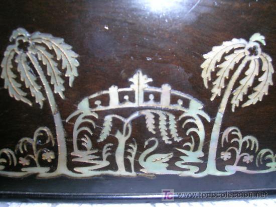 Antigüedades: Antigua caja Inglesa para el thé en chicaranda con marqueteria en nacar S-XIX - Foto 6 - 26961658