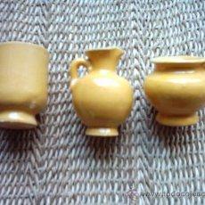 Antigüedades: VASIJAS EN MINIATURA DE CERÁMICA ANDALUZA. 5 Y 4 CM. DE ALTURA.. Lote 10145745