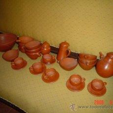 Antigüedades: JUEGO DE CAFÉ Y BOLES DE BARRO. Lote 21134806
