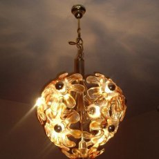 Antigüedades: LAMPARA TECHO TIPO FRESA EN ORO Y PETALOS DE MURANO MAZZEGA DIAMETRO 45CM. Lote 10200036