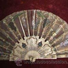 Antigüedades: ABANICO MARFIL POLICROMADO. Lote 12032413