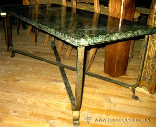 Mesa de sal n de hierro y tapa de marmol medid comprar - Mesas de marmol y cristal ...