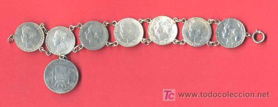 Pulsera de monedas de plata peso 45 gramos mon comprar objetos plater a antigua en - Cuberterias de plata precios ...
