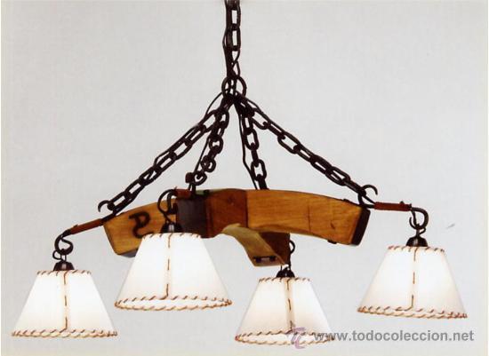 Lampara colgante rustica cruzada en hierro y vendido en venta directa 17779774 - Lamparas colgantes de madera ...
