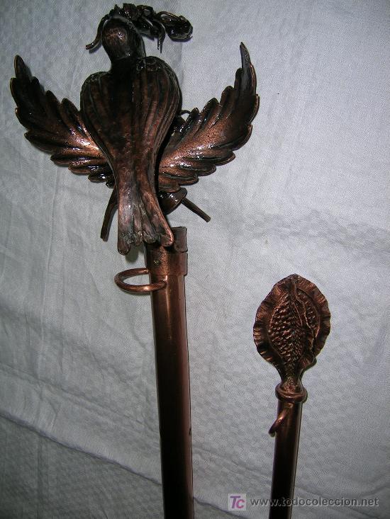 PAREJA DE MÁSTILES PARA ESTANDARTE PROCESIONAL (Antigüedades - Religiosas - Ornamentos Antiguos)