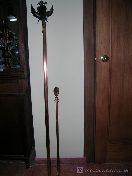 Antigüedades: Pareja de mástiles para estandarte procesional - Foto 2 - 26644070