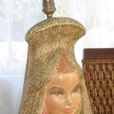 Antigüedades: INTERESANTE BASE DE CERAMICA O YESO PARA LAMPARA DE SOBREMESA.. Lote 26436711