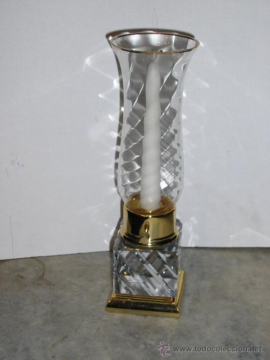 CANDELABRO DE CRISTAL TALLADO Y DORADO (Antigüedades - Iluminación - Candelabros Antiguos)