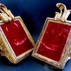 Antigüedades: PAREJA DE SACRAS RELIGIOSAS - MADERA TALLADA Y DORADA - S. XVII - XVIII - PERFECTAS COMO EXPOSITORES. Lote 24965790