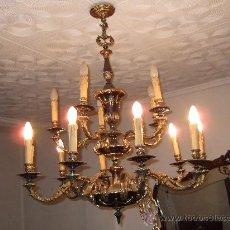 Antigüedades: LAMPARA DE BRONCE 15 BRAZOS, CON CADENA EXTENSIBLE DE 57 CMS PARA COLGAR. 60 AÑOS. Lote 28158263