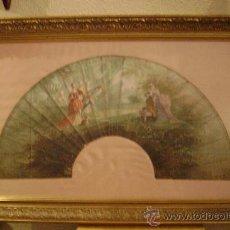 Antigüedades: PAIS DE ABANICO DE CABRITILLA ENMARCADO. Lote 26002603
