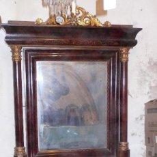 Antigüedades: GRAN CÓNSOLA ISABELINA 1850'S. EN PALMA DE CAOBA. MEDIDAS: 205 CM. DE ALTURA X 115 CM DE ANCHO. Lote 24932014